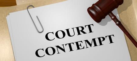 Court contempt file with gavel